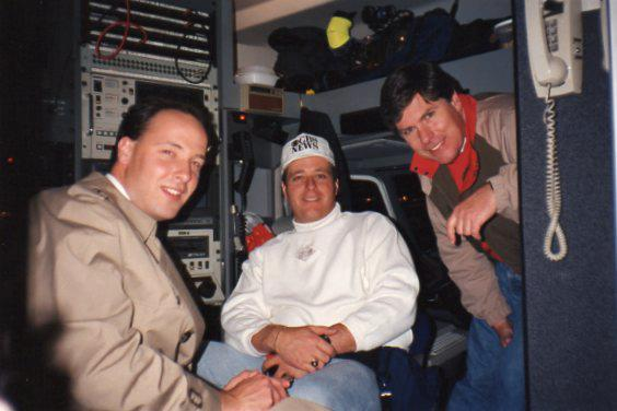 Scott Higgins (left) sits in a live truck during his 1991 NCAA Tournament coverage of UNLV for Las Vegas TV station, KLAS