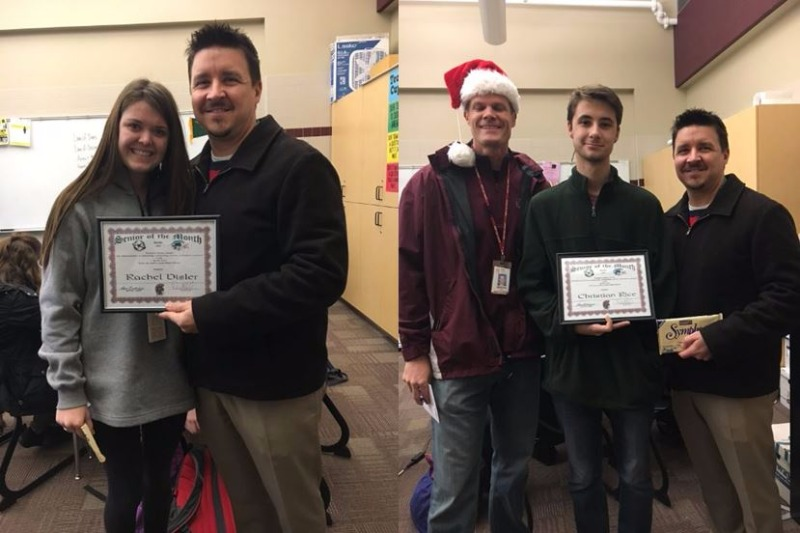 Rachel Disler (left) receives her Senior of the Month certificate from JHS Principal David Beiler, and Christian Rice (right middle) is pictured with Assistant Principal Clay Martin and David Beiler.