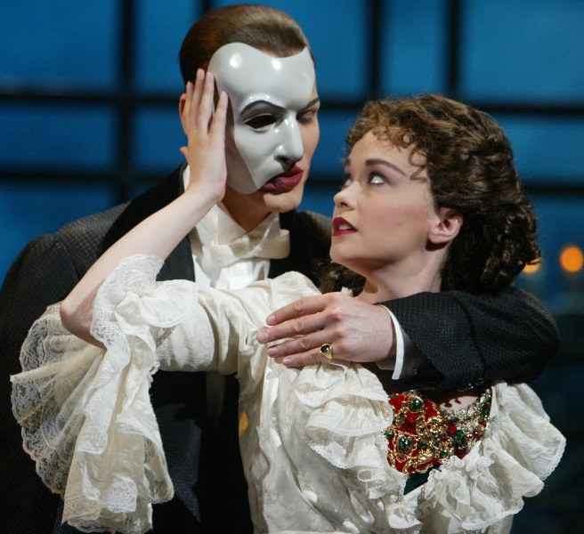 Julie Hanson ('97) playing the role of Christine in a performance of The Phantom of the Opera.