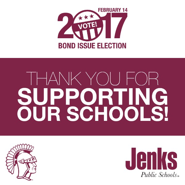 Jenks voters overwhelming approved the 2017 Bond Issue Election.