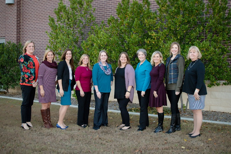 2017-18 Site Teachers of the Year from left to right: Rachel Hughes (SE), Mindy Miles (AC), Elle Fowler (WI), Ashley Mackey (EI), Jacqueline Novotny (WE), Emily Stewart (FA), Lynn Goodrich (NW), Amy Greenlaw (HS), Erica Housley (EE), Dana Stokes (MS).