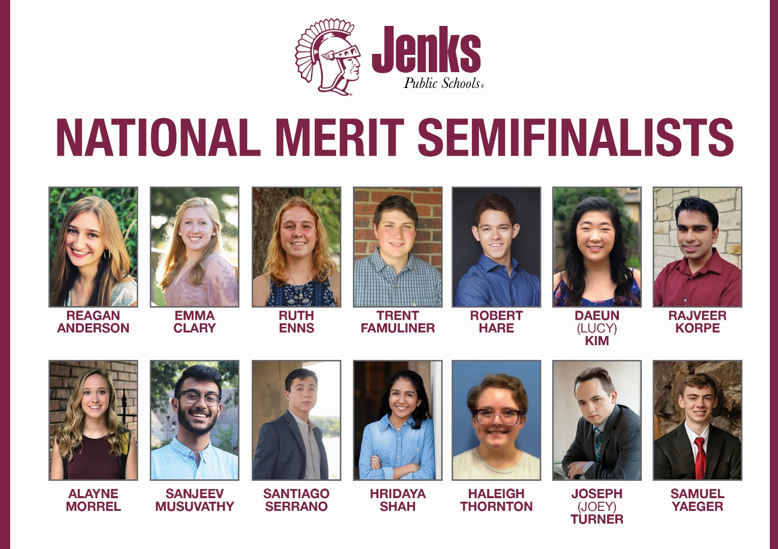 Seven girls and seven boys make up the 2019 National Merit Semifinalists from Jenks High School.