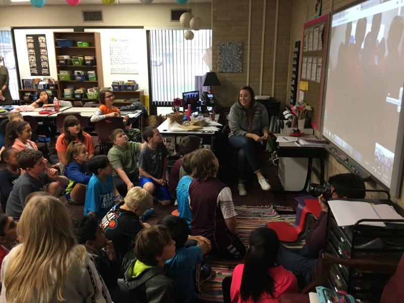 Emily Copsey and her students participate in a Skype conversation with students in Ghana.